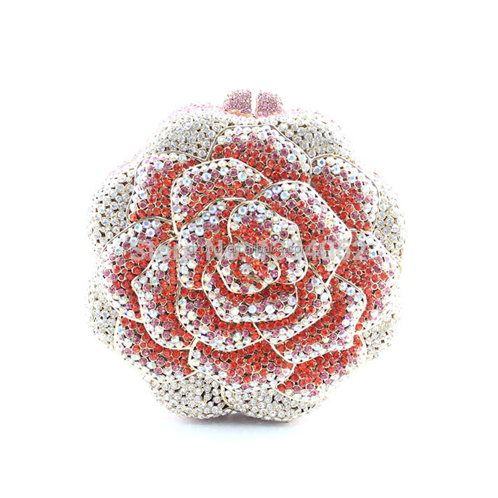 AliExpress China supplier Ladies colorful Crystal Rose Flower Shape Evening Clutch Bag SC2221