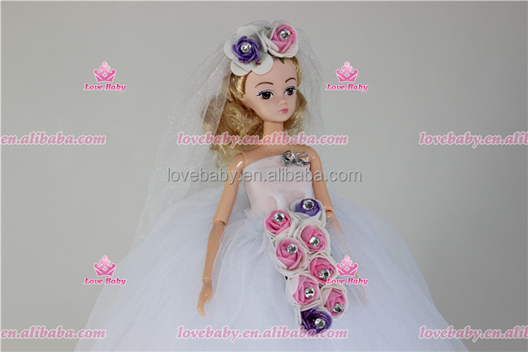 Elegant Lace Multi Layers Tulle Wedding Dress For Barbie Doll Luxury Floral Doll