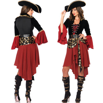 2019 new design hot selling sexy adult woman deep red dress costume halloween Pirates Costume halloween costume
