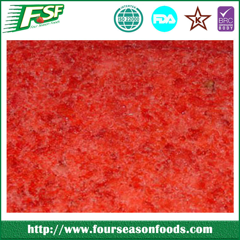wholesale bulk Frozen/BQF Aseptic Strawberry Pulp ,chinese frozen fruits , bulk frozen fruit puree