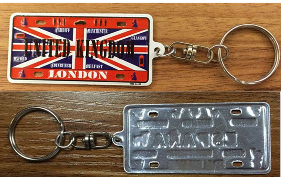 Cheap customized embossed car number plate metal name key chain