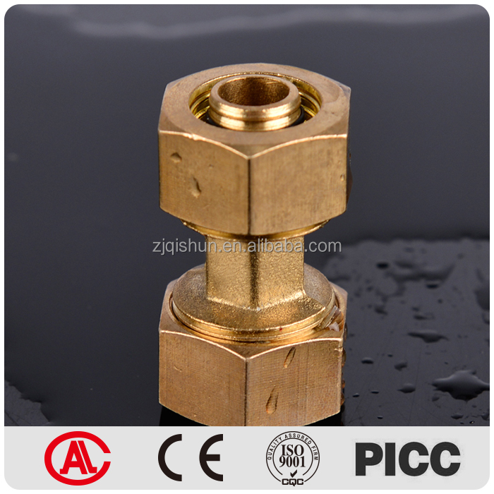 Hex Round Connect Two Equal Reducing Socket Brass Female Adapter