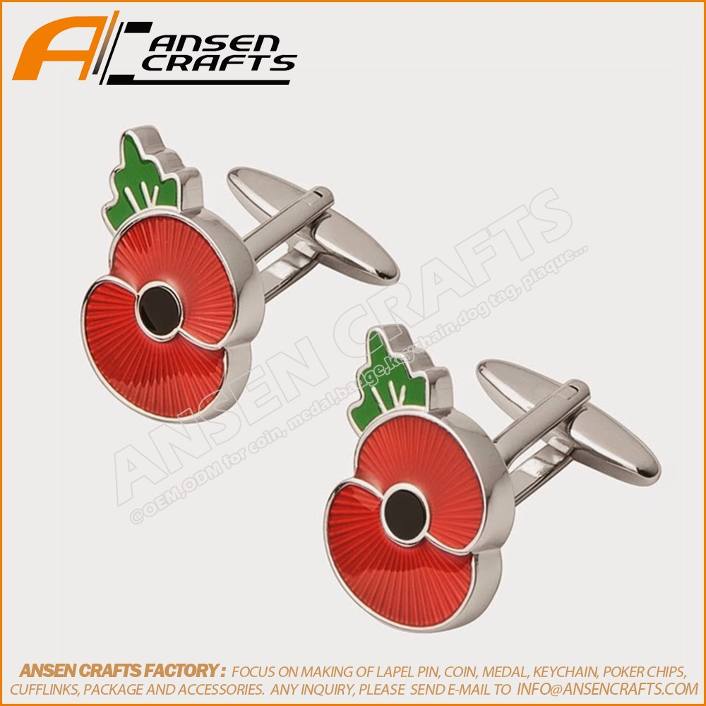 2017 New Products British Poppy Cufflink Red Poppy Pin With