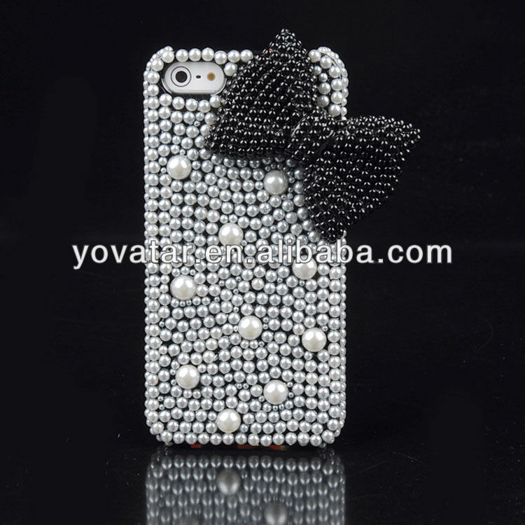 Black Diamond Butterfly Bow Pearl Hard Case Cover For iPhone 5 5S 5G