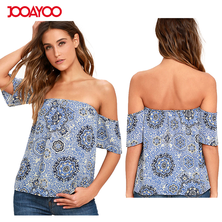 New Fashion Fancy Off Shoulder Blue Chiffon Tops Ladies Printing Designs Latest Fancy Tops Girls