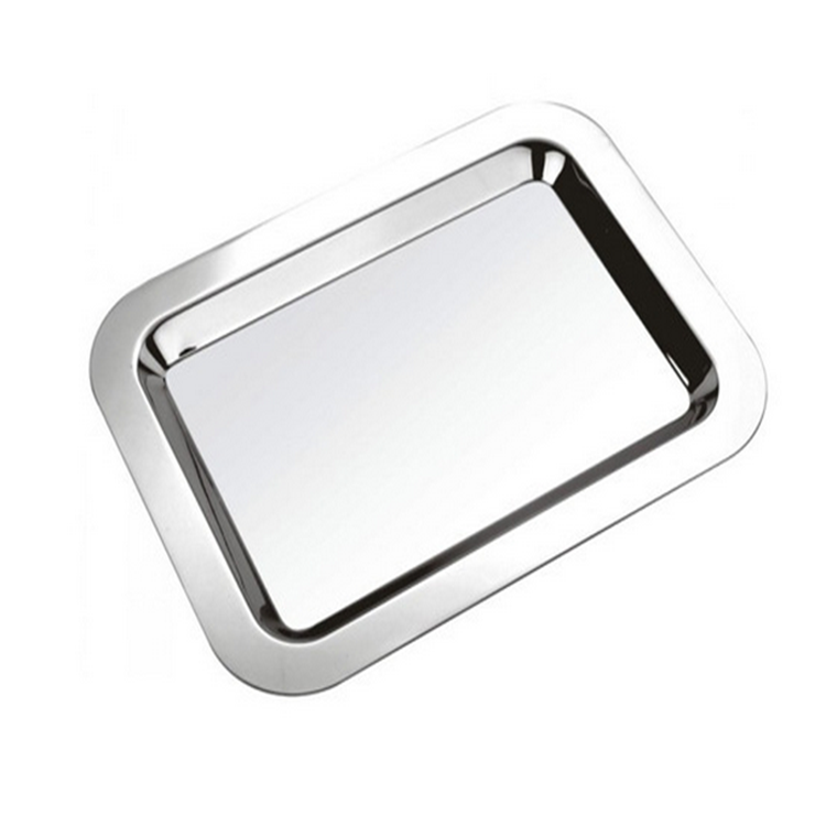 16inch Commercial Stainless Steel Flat Plates Mirror Serving Tray