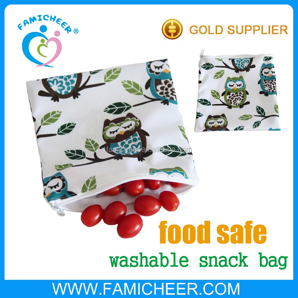 Famicheer Food Safe Reusable Snack Bag School Lunch Zipper Pouch