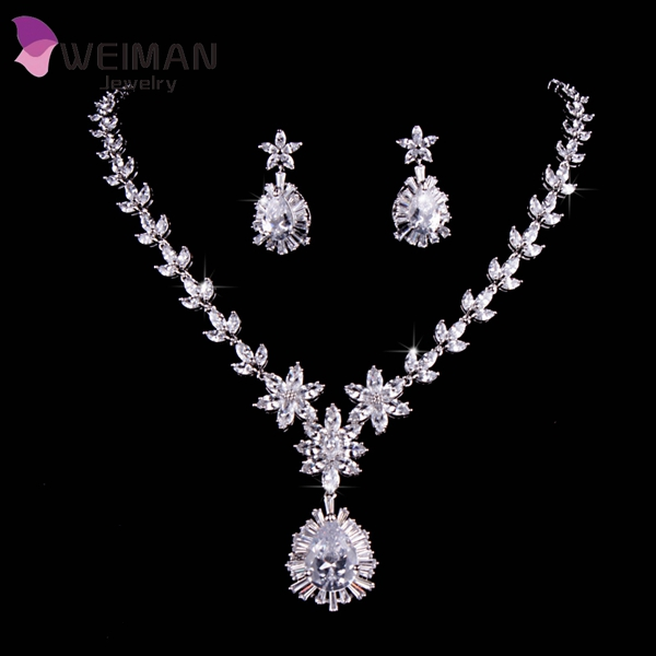 White Gold Plated Luxury Bridal Jewelry Big Teardrop CZ Diamond Necklace And Earrings <strong>Sets</strong> For Wedding Decoration
