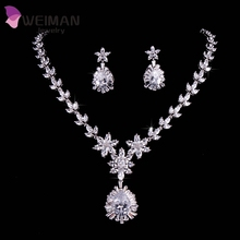 White Gold Plated Luxury Bridal Jewelry Big Teardrop CZ Diamond Necklace And Earrings Sets For Wedding Decoration
