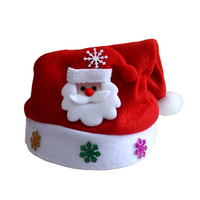 led lights decoration new red happy christmas hat santa hat for kids