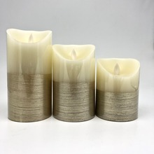 Hot Selling Golden wire drawing real wax LED wicking candle