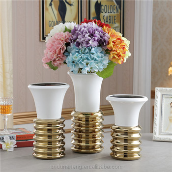 wholesale gorgeous designs modern ceramic electroplated vase