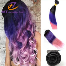 New Arrival Ombre Color Purple Weave Three Tone Virgin Peruvian Ombre Straight Hair Ombre Hair Extensions 3 pcs