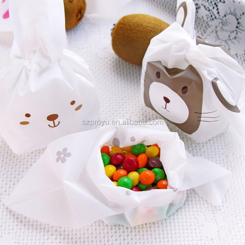 White Rabbit Shape Candy Cookie Biscuit Party Supplies Plastic Gift Packaging Bags