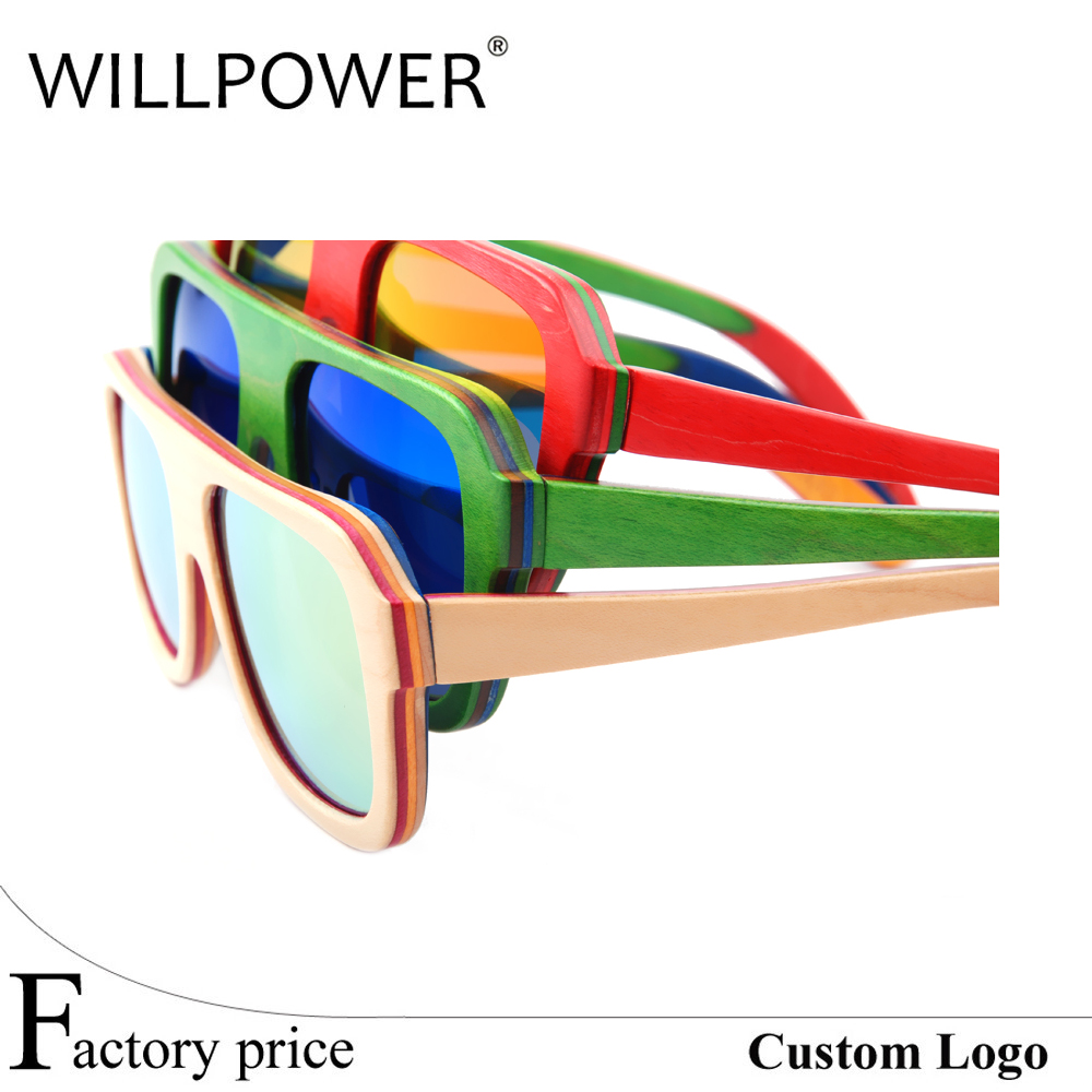 custom polarized floating Skateboard wood sunglasses men wooden sunnies shades woodies sunglasses