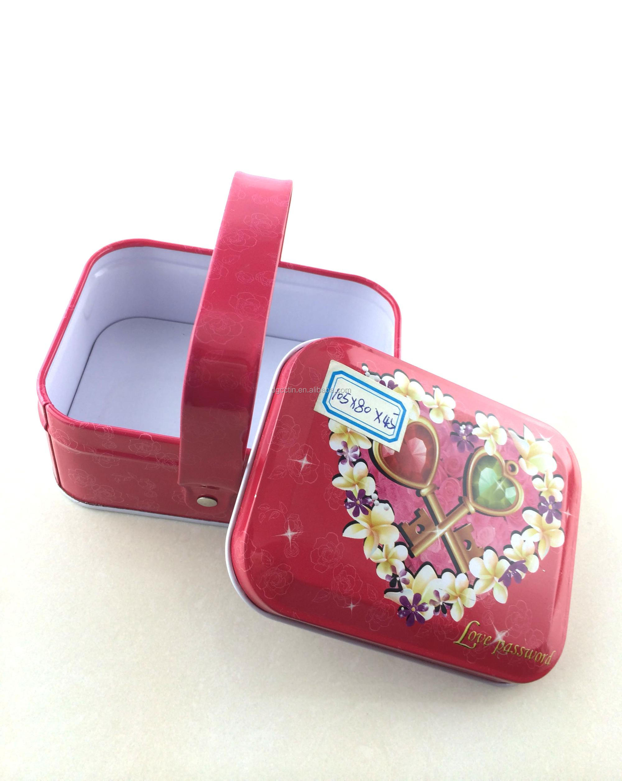 high quality food grade candy chocolate tin box with handle