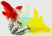 Stainless Steel 3-threadbird Feather Butt Plug in Small Sexy Ass Massager Anal Plug Sex Toys For Adult More Stimulating