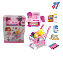 kids plastic supermarket shopping cart toy and cash register toy