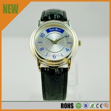 Fashion black leather strap watch \blue digital watch