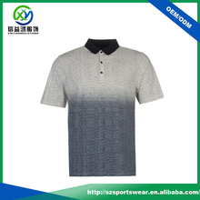 striped pattern knit collar pique high quality sublimation golf polo shirt for men