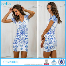 Oriental chic women fashion customize dresses blue and white porcelain pattern cheongsam