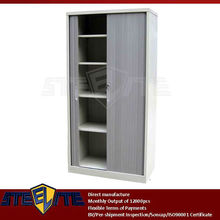 full height gray metal roller shutter tambour door storage cabinet/shuttered cabinet roll down door with adjustable 4 shelves