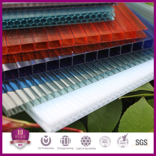6mm Twin Wall Polycarbonate Roofing Sheets For Greenhouse Glazing Anti-UV Coated 100% Virgin PC Material Guaranted Plastic Panel