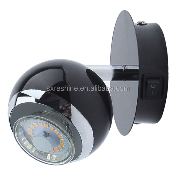black painted single head GU10 3W LED decorative bedside wall LED spot lamp for EU market