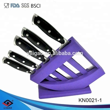 5pcs knife block set for professional butcher knives with chinese cleaver knife
