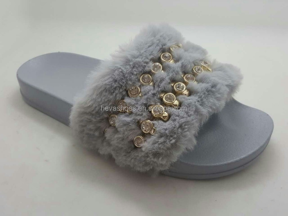 Wholesale Popular Design Outdoor Flat Slide Woman EVA Slipper With Fur Open Toe