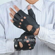 Mens half finger leather driving gloves knuckle hole and snap closure leather gloves