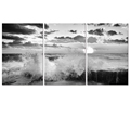 "Spindrift Black and White Picture Canvas Printing Artwork Seascape Canvas Print Modern Home Wall Decoration (16""x24""x3)"