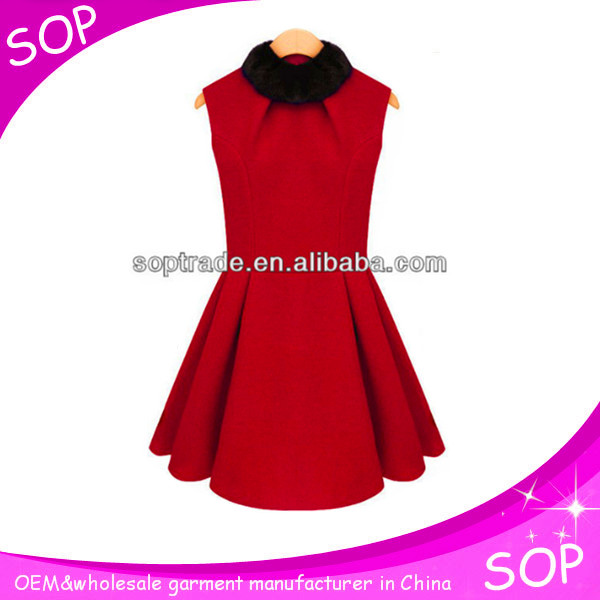 Wholesale round neck pleated dresses woman dress fashion