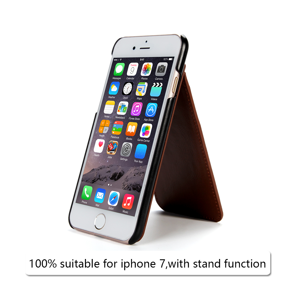 top quality PU leather cover for iphone 7 with card slot and standing function phone case