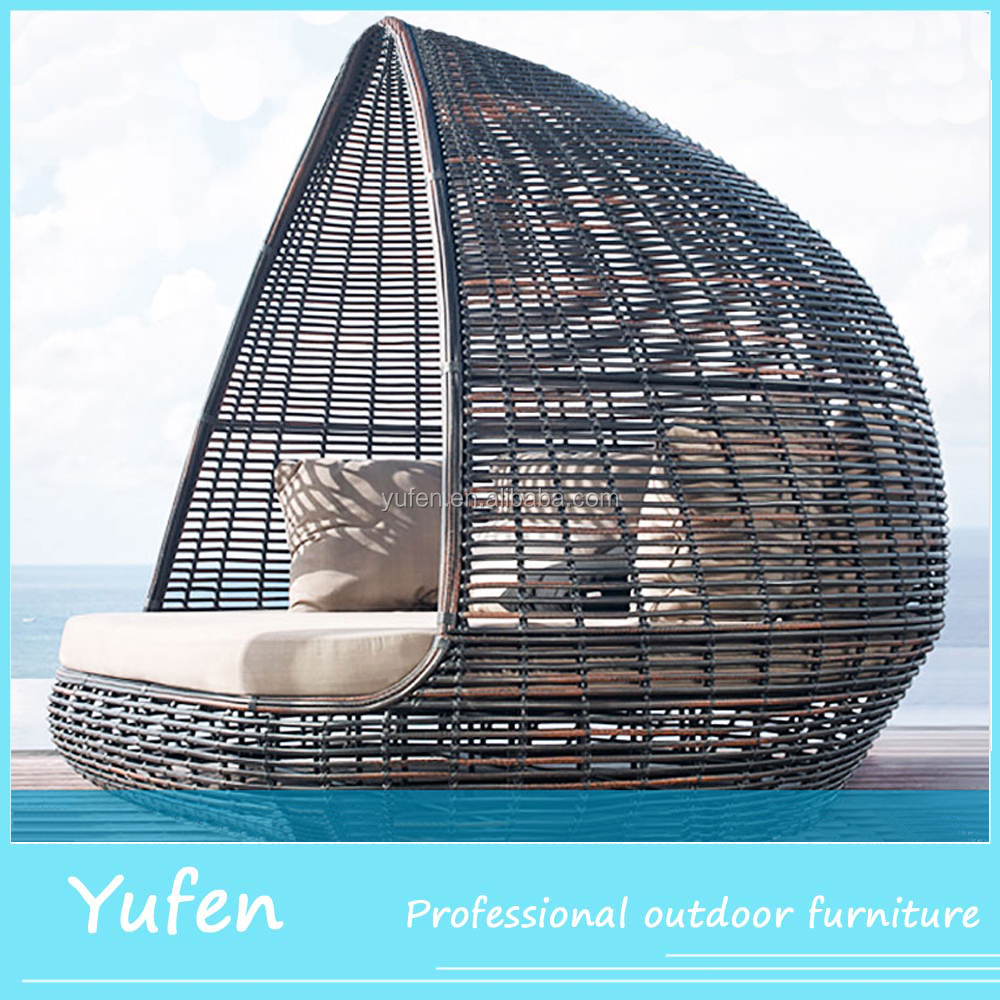 Rattan Round Outdoor Lounge Bed With Canopy Cheap Sunbed - Buy ...