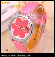 5 colors lovely Hello Kitty cat watch 2016 promotional carton kids leather wrist watch