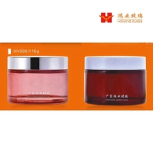 Luxury Packaging transparent red color empty cosmetic sets facial mask glass jar HY990