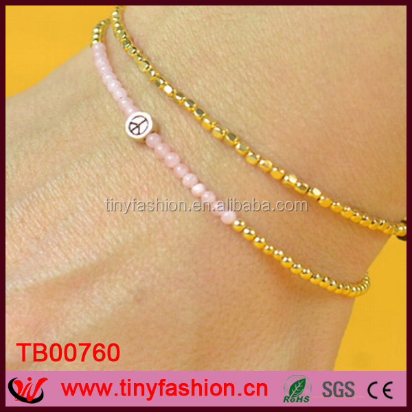 Stylish 3mm gold nugget beads bracelet tiny pink quartz beads peace sign Bracelet