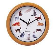 Cat sound musical wall clock
