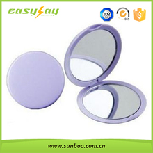 Promotional round mini plastic pocket mirror cosmetic mirror with double sides