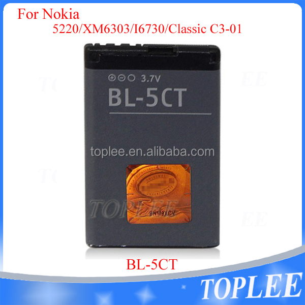 2016 universal Mobile phone 3.7V 1050 mAh bl-5ct battery for nokia bl-5ct 5220 6303 6303i 6730 C3-01 C5-00 C6-01