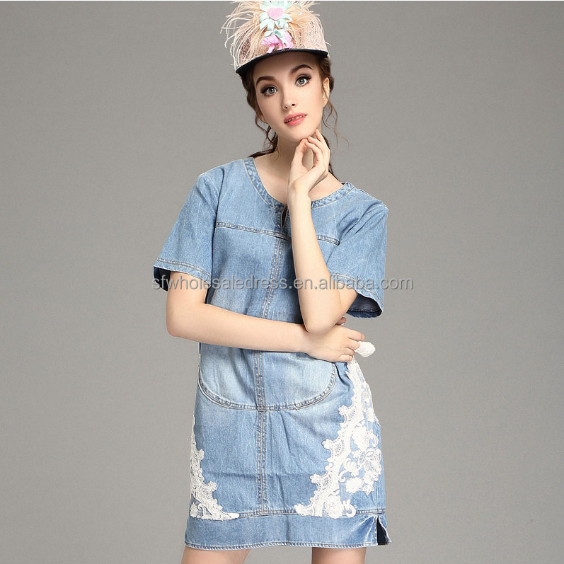 Woman new fashion washed short sleeve latest design pattern back jeans/denim dress