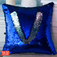 Popular best selling yiwu wholesale decorative sofa car pillow case Mermaid Sequin Cushion Covers