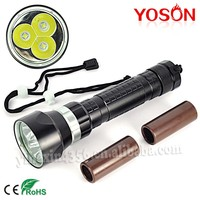 Rotable Switch 3PCS CREE XML-L2 LED Diving Torch Flashlight