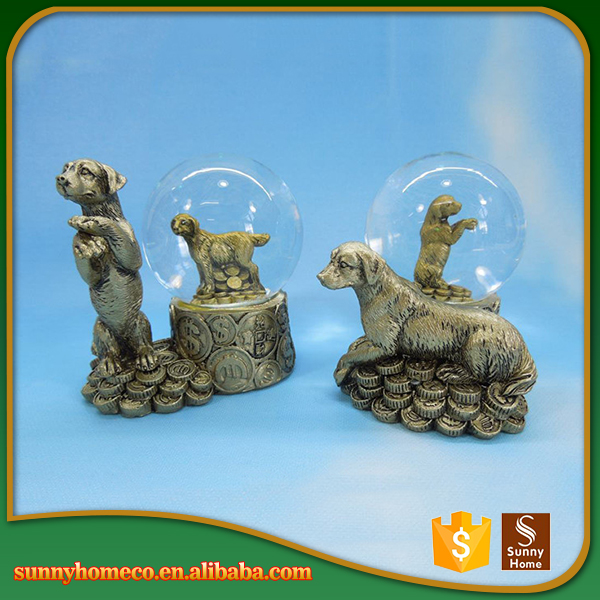 Resin dog Crafts Crystal ball Decorative Animal Figurines for Home