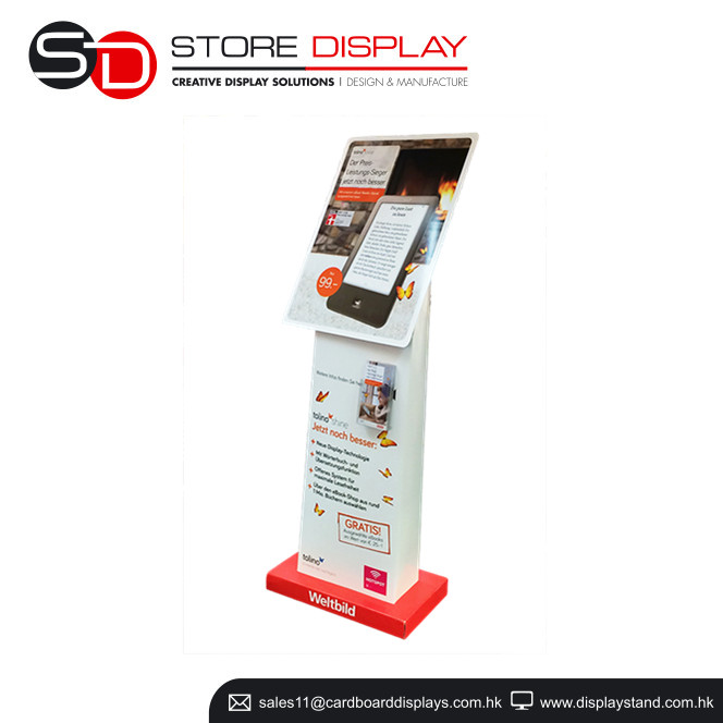POP cardboard cellphone advertising display stand, store display standing for ipad promotion, watch poster floor stand