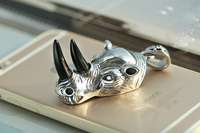 High quality cz cast stylish hip hop animal rhino head 316l stainless steel pendant