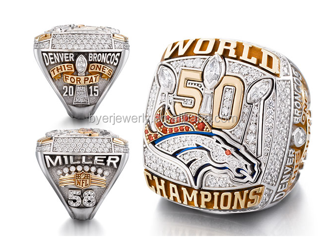 New Arrival Custom Fans Replica Denver Broncos 50th Super Bowl Championship Rings