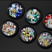 Misscheering Mixed Style Metal Studs Mini Glass Crystal Rhinestone Nail Art Designs Decoration in Box