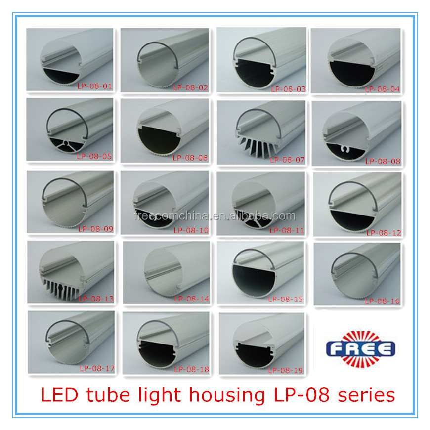 6063 extruded aluminum profile clear PC cover led T8 tube light shell